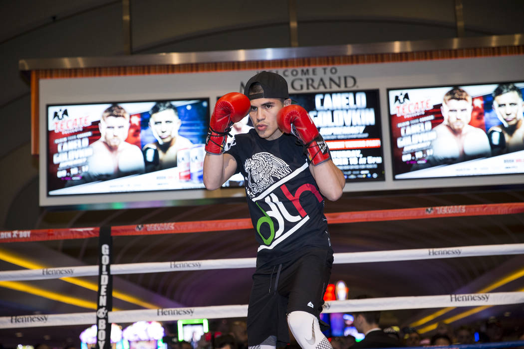 Diego De La Hoya during an open workout at the MGM Grand hotel-casino in Las Vegas, Wednesday, Sept. 13, 2017. Erik Verduzco Las Vegas Review-Journal @Erik_Verduzco