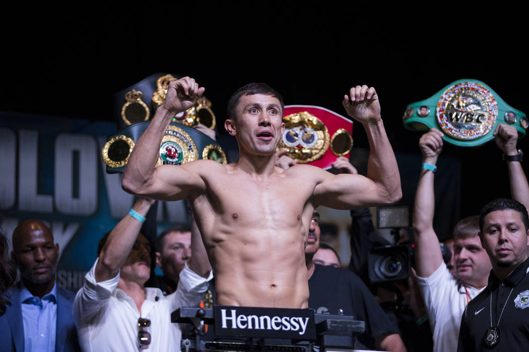 "Gennady ""GGG"" Golovkin during a weigh-in event at MGM Grand Garden Arena in Las Vegas, Friday, Sept. 15, 2017. Golovkin is scheduled to fight Saul ""Canelo"" Alva ..."