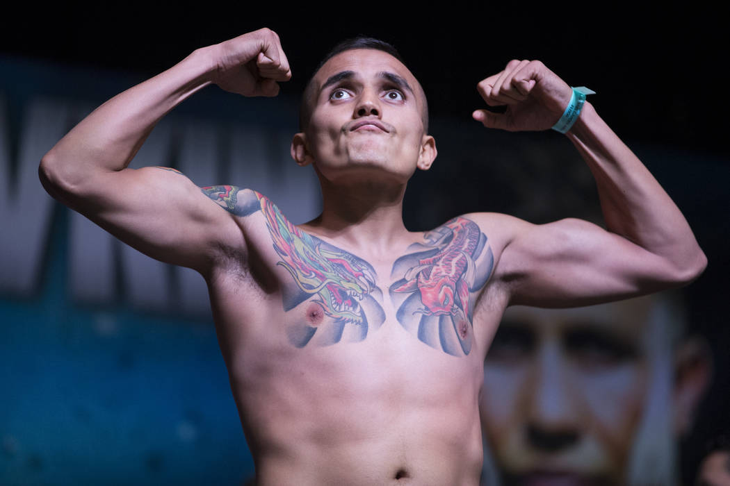 Francisco Rojo during a weigh-in event at MGM Grand Garden Arena in Las Vegas, Friday, Sept. 15, 2017. Rojo is scheduled to fight Ryan Martin on September 16 at T-Mobile Arena. Erik Verduzco Las V ...