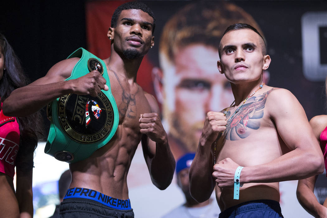 Ryan Martin, left, and Francisco Rojo during a weigh-in event at MGM Grand Garden Arena in Las Vegas, Friday, Sept. 15, 2017. Martin and Rojo are scheduled to fight on September 16 at T-Mobile Are ...