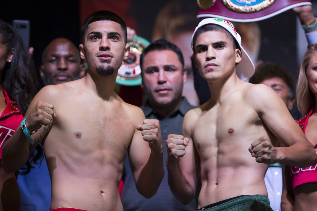 Randy Caballero, left, and Diego De La Hoya during a weigh-in event at MGM Grand Garden Arena in Las Vegas, Friday, Sept. 15, 2017. Caballero and De La Hoya are scheduled to fight on September 16  ...
