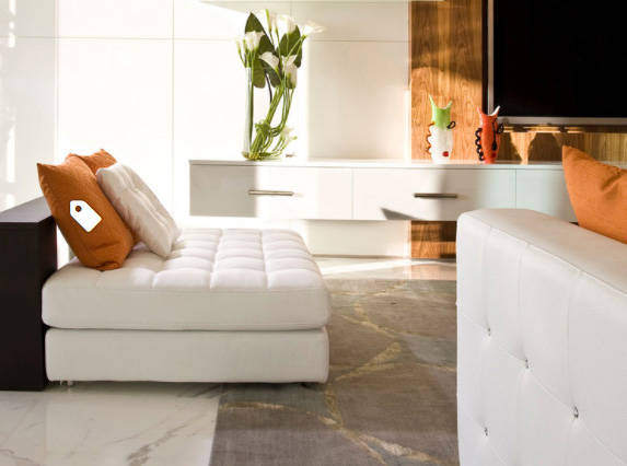 """Houzz White or cream upholstery allows you to change the """"color"""" of your accessories."""