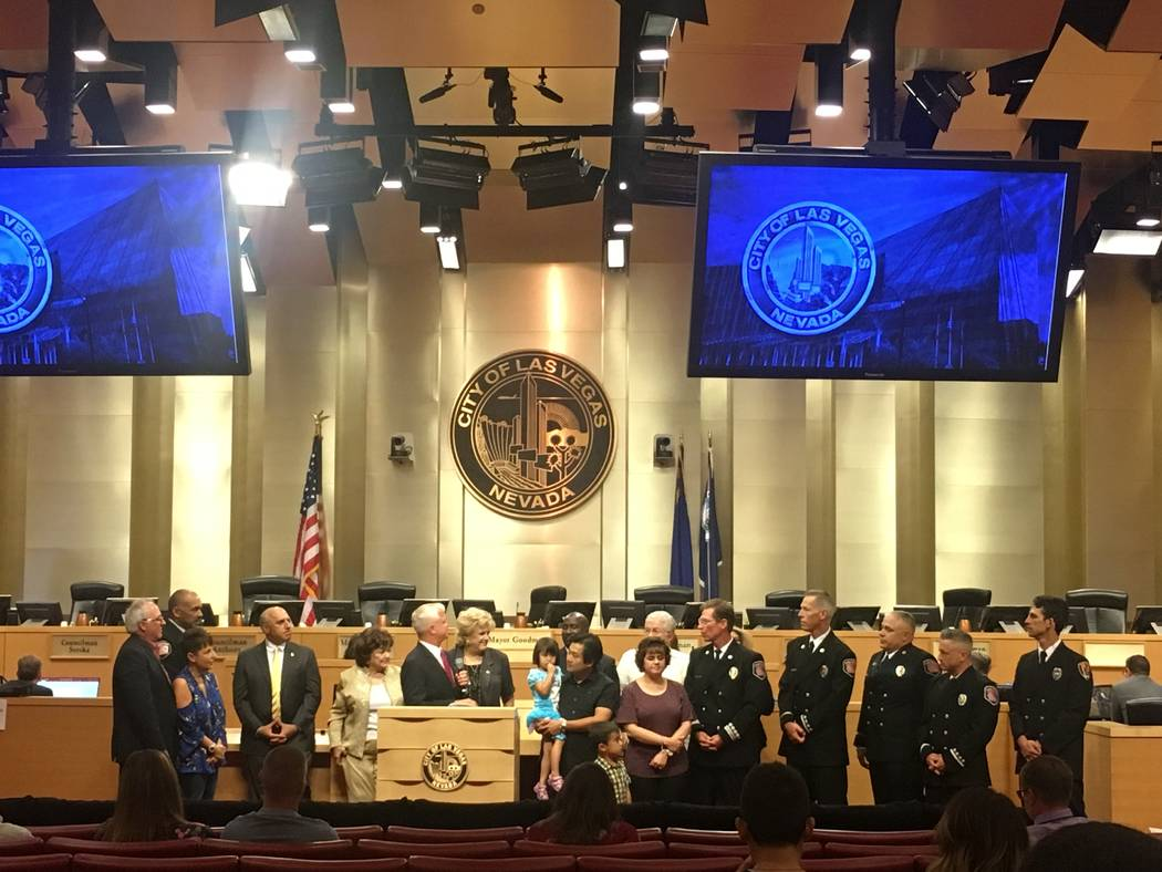 The Meesawat family joined members from the Las Vegas Fire and Rescue, city councilman Steven Seroka and Mayor Carolyn Goodman to honor first responders who saved Natalie, 4, from a burning house.