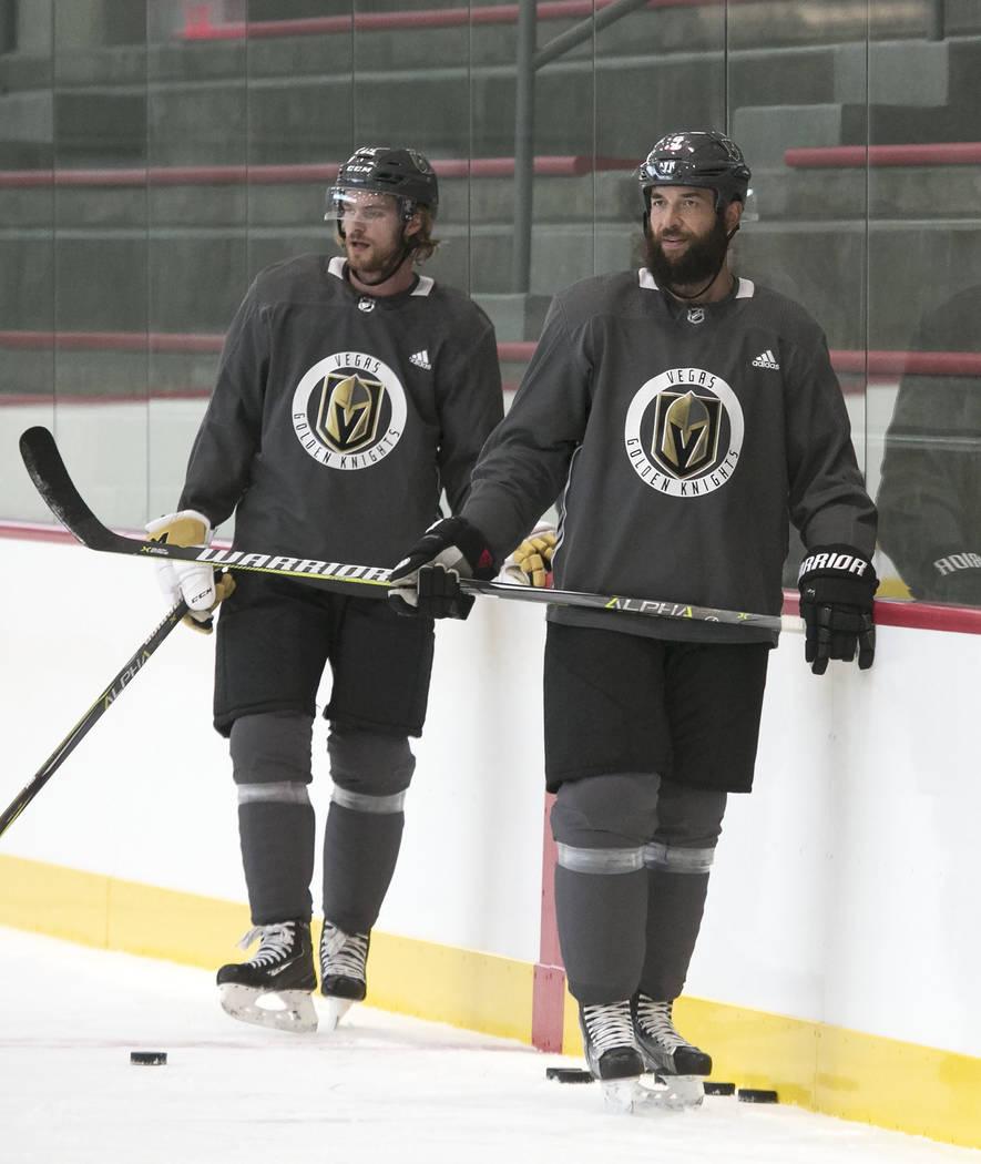 Vegas Golden Knights' Jon Merrill, left, and Deryk Engelland during practice at City National Arena on Monday, Aug. 28, 2017, in Las Vegas. (Bizuayehu Tesfaye/Las Vegas Review-Journal) @bizutesfaye