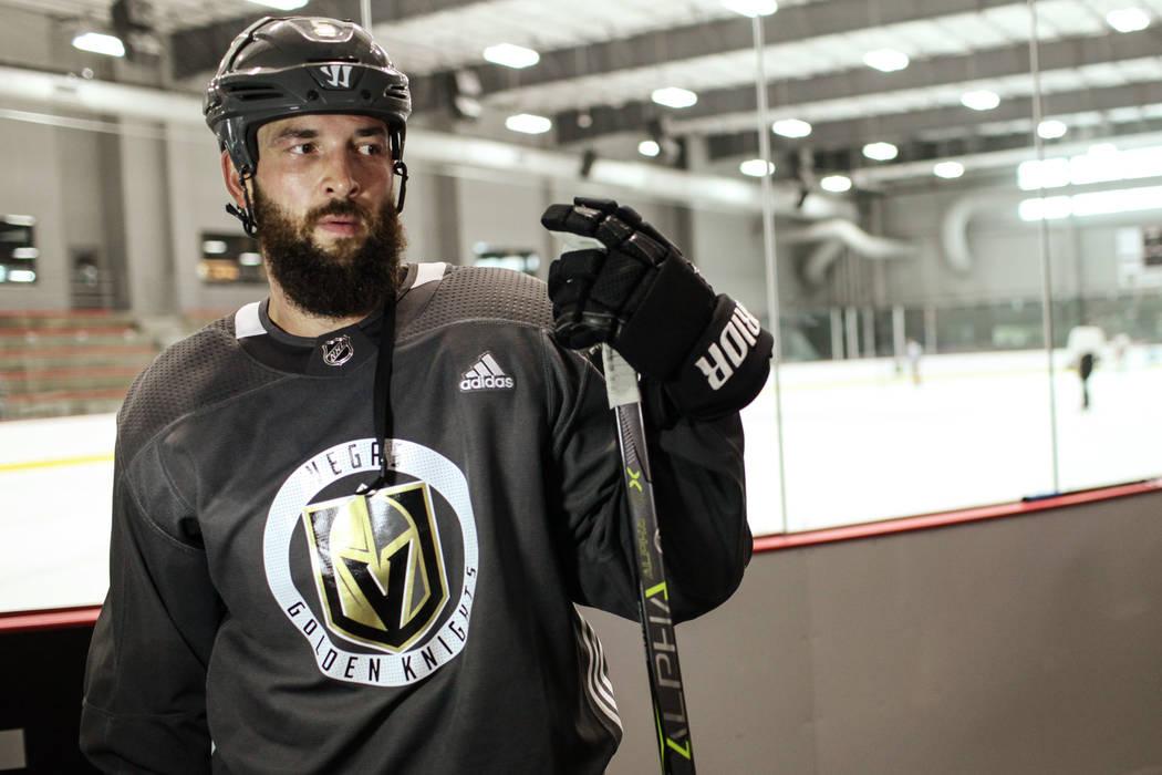Golden Knights defense Deryk Engelland (5) is interviewed after a practice at City National Arena in Las Vegas, Monday, Sept. 4, 2017. Joel Angel Juarez Las Vegas Review-Journal @jajuarezphoto