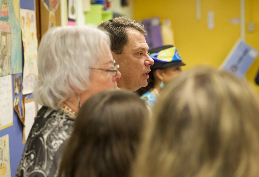 Clark County School District Superintendent Pat Skorkowsky announces he will be retiring after his contract ends during a press conference held at Walter Bracken Academy on Thursday, Sept. 7, 2017 ...