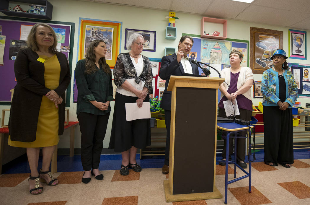 Clark County School District Superintendent Pat Skorkowsky, center, announces he will be retiring after his contract ends during a press conference held at Walter Bracken Academy on Thursday, Sept ...