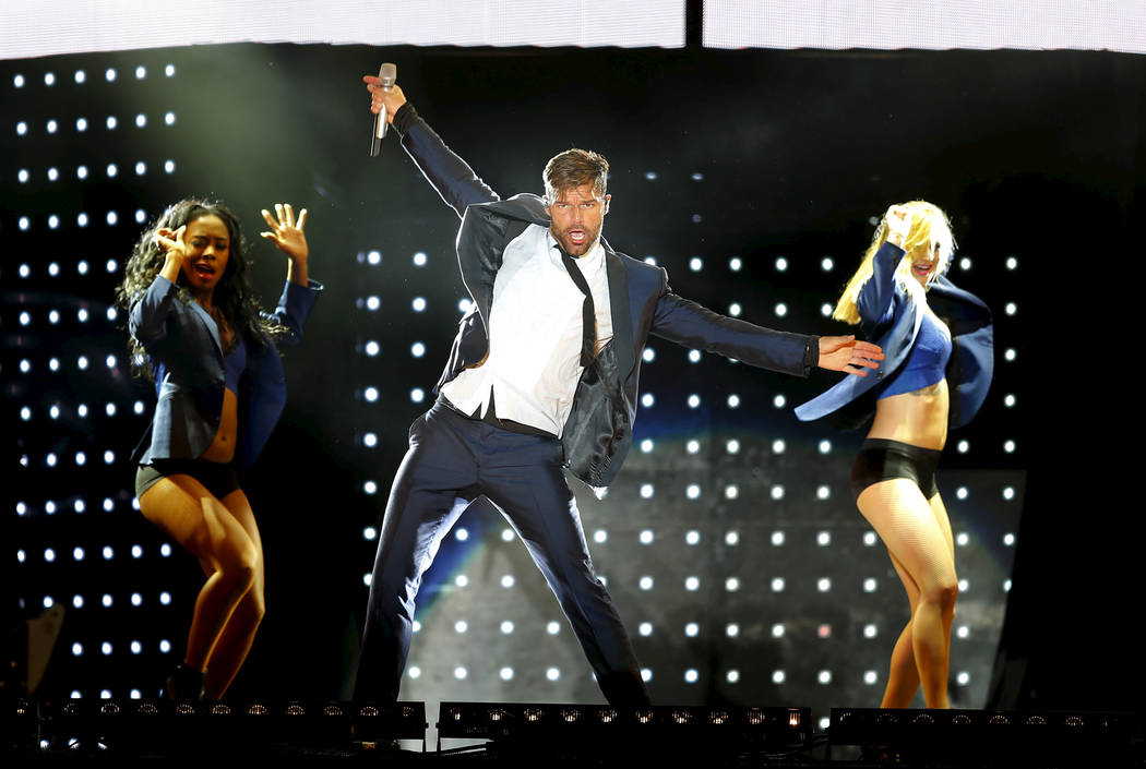 Singer Ricky Martin performs during his One World tour 2016 in Montevideo, March 14, 2016.  REUTERS/Andres Stapff - GF10000345521