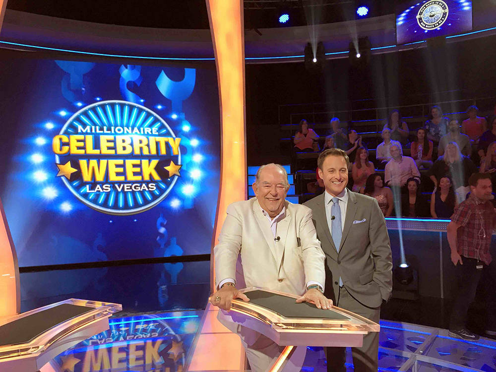"""Robin Leach and Chris Harrison on """"Who Wants To Be A Millionaire."""" Leach played for the Boys & Girls Club. The show, which was filmed in Las Vegas, will be aired in November. (Disney/ABC Home  ..."""