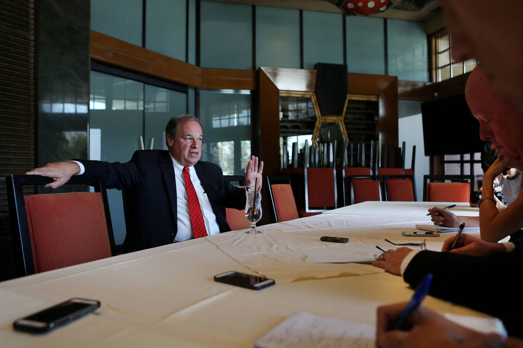 Nevada Treasurer Dan Schwartz speaks to media after announcing his campaign for Governor on at the Republican Men's Club monthly Luncheon at Cili Restaurant at Bali Hai Golf Course in Las Vegas, T ...