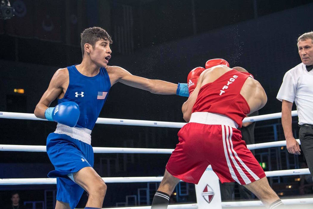 Freudis Rojas (left), a Las Vegas native, won the bronze medal at the AIBA World Boxing Championships last week in Germany. (Karim de la Plaine/AIBA)
