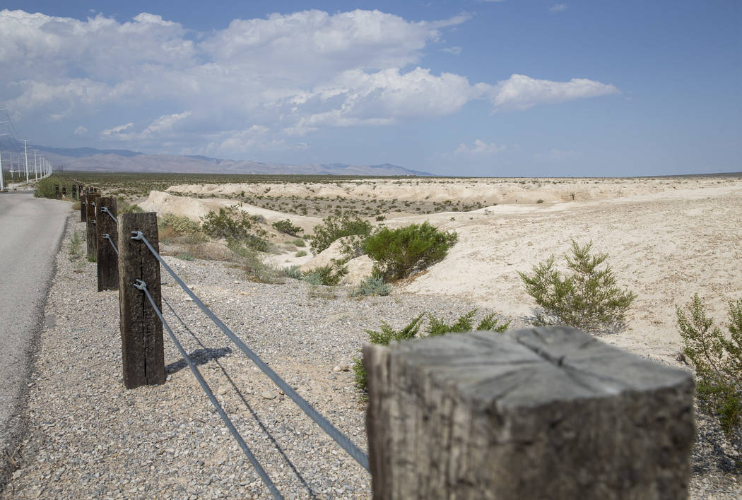 Wooden posts mark the boundary at Tule Springs Fossil Beds National Monument in Las Vegas on Friday, Sept. 8, 2017. Richard Brian Las Vegas Review-Journal @vegasphotograph