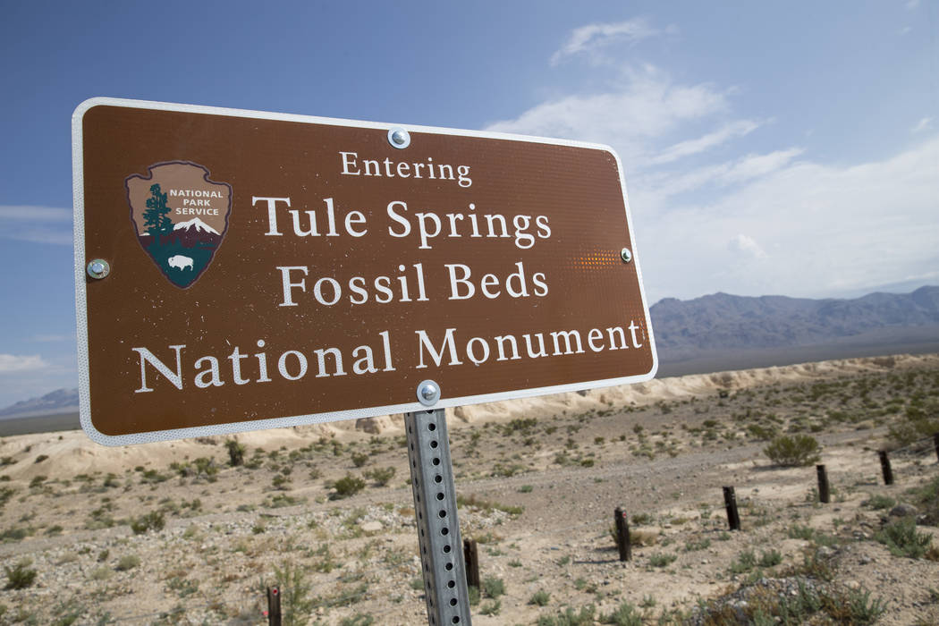 A sign marks the boundary of Tule Springs Fossil Beds National Monument in Las Vegas on Friday, Sept. 8, 2017. Richard Brian Las Vegas Review-Journal @vegasphotograph