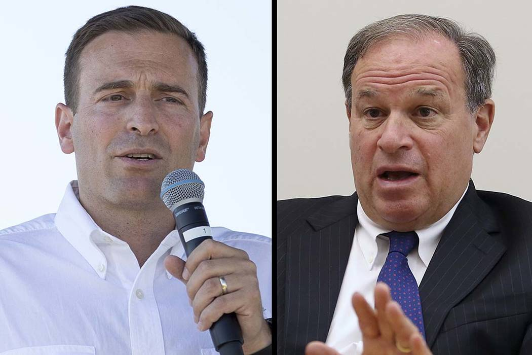 Nevada Attorney General Adam Laxalt, left, and Nevada Treasurer Dan Schwartz. Las Vegas Review-Journal files