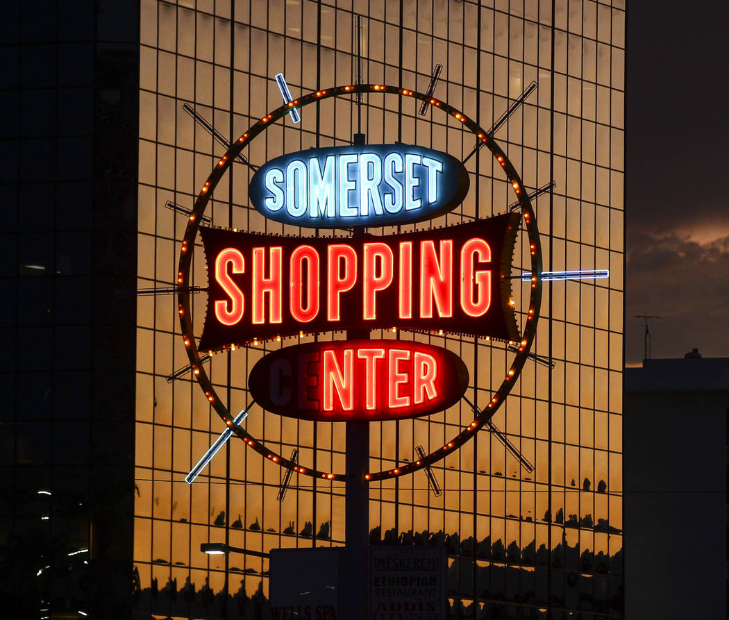The sign for Somerset Shopping Center in Las Vegas on Thursday, Sept. 7, 2017. Chase Stevens Las Vegas Review-Journal @csstevensphoto