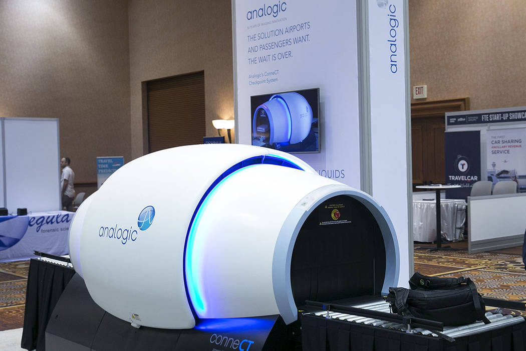 Analogic's ConneCT Aviation Checkpoint Screening System is displayed during the Future Travel Experience expo at the Mandalay Bay on Friday, Sept. 8, 2017, in Las Vegas. Analogic's ConneCT  ...
