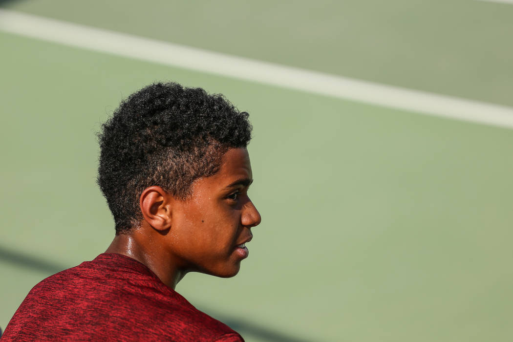 Rua Elmore of Western High takes a break in between matches against Sunrise Mountain's boys tennis team at Western High School in Las Vegas, Monday, Sept. 11, 2017. Joel Angel Juarez Las Vegas Rev ...