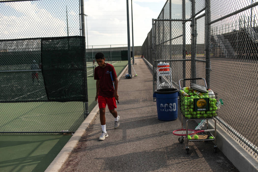 Rua Elmore of Western High walks near the tennis court during a match against Sunrise Mountain at Western High School in Las Vegas, Monday, Sept. 11, 2017. Joel Angel Juarez Las Vegas Review-Journ ...