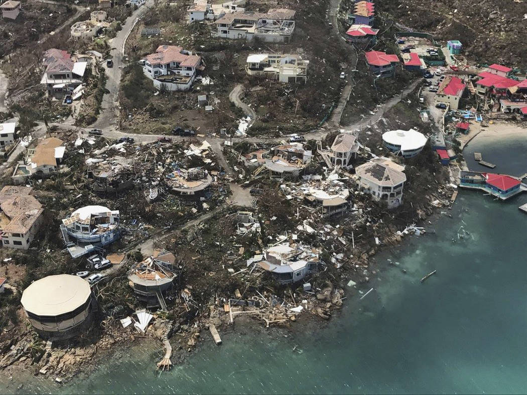 CORRECTS DAY - This photo provided on Friday, Sept. 8, 2017, shows storm damage in the aftermath of Hurricane Irma in Virgin Gorda's Leverick Bay in the British Virgin Islands. Irma scraped Cuba's ...
