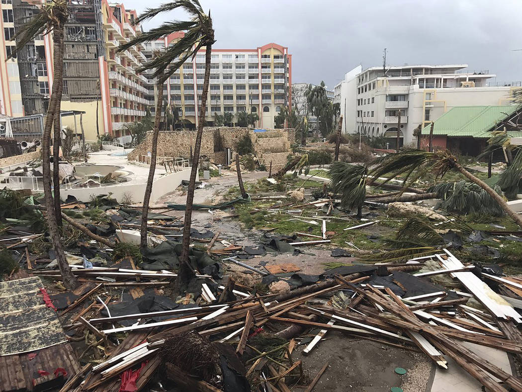 This Sept. 6, 2017 photo shows storm damage in the aftermath of Hurricane Irma in St. Martin. Irma cut a path of devastation across the northern Caribbean, leaving thousands homeless after destroy ...