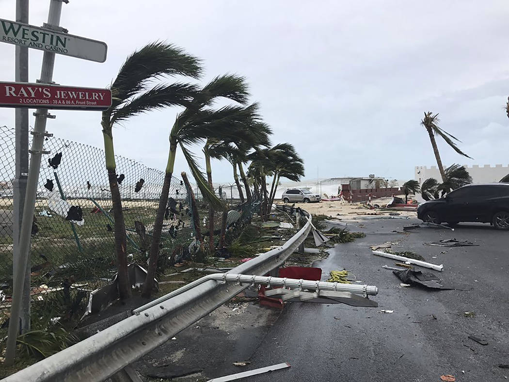 This Sept. 6, 2017 photo shows storm damage in the aftermath of Hurricane Irma, in St. Martin. Irma cut a path of devastation across the northern Caribbean, leaving thousands homeless after destro ...