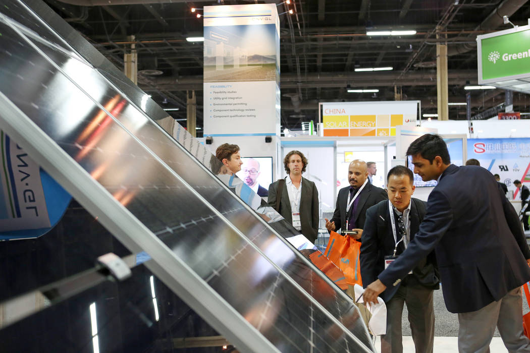 The Soltec America booth during the Solar Power International 2017 at the Mandalay Bay Convention Center in Las Vegas, Monday, Sept. 11, 2017. (Elizabeth Brumley/Las Vegas Review-Journal)