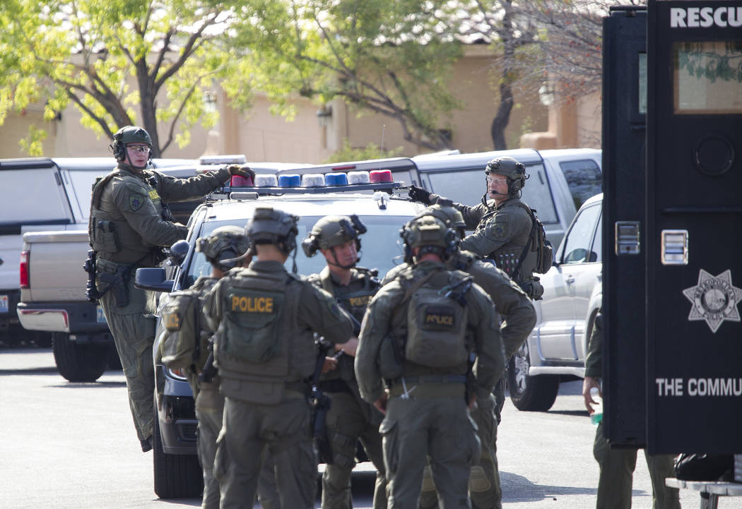 Las Vegas police work a barricade situation near Far Hills Avenue and Sageberry Drive in the Summerlin area of Las Vegas on Friday, Sept. 8, 2017. Richard Brian Las Vegas Review-Journal @vegasphot ...