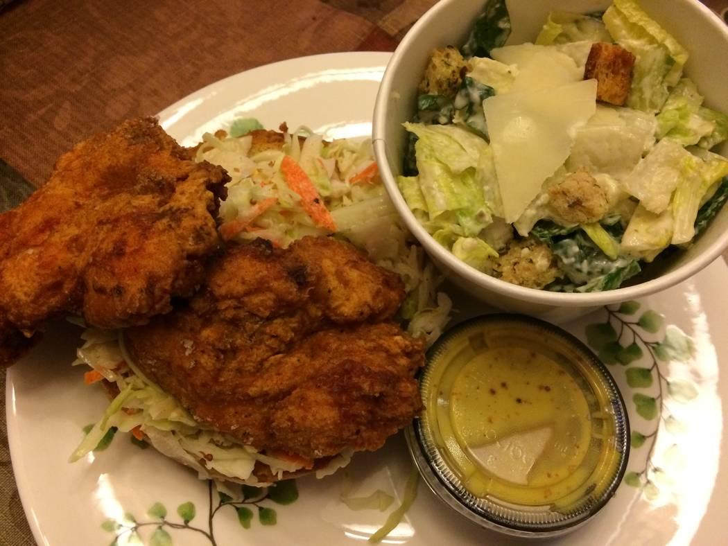 The Biloxi buttermilk fried chicken sandwich is seen Sept. 7, 2017, is served with a side salad. (Jan Hogan/View)