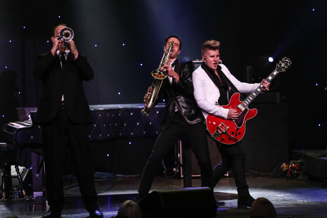 Members of Frankie Moreno's band play at the Suncoast Showroom in Las Vegas, Saturday, Sept. 9, 2017. Joel Angel Juarez Las Vegas Review-Journal @jajuarezphoto
