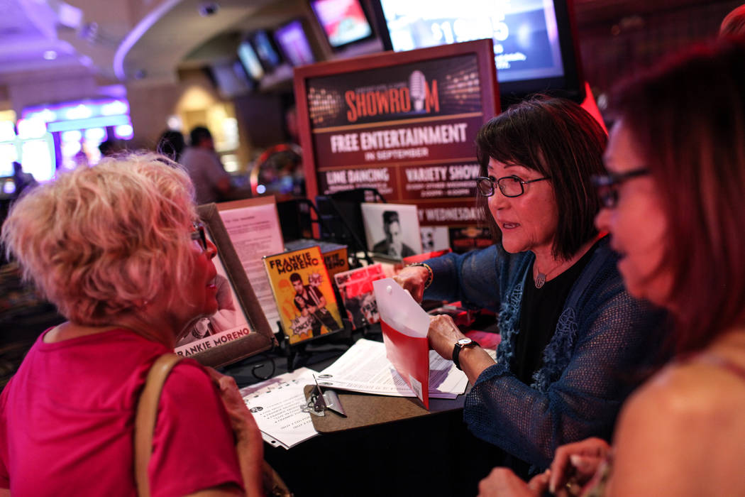 Georgia Yeager of the Frankie Moreno Fan Club, middle, speaks with fans before a concert at the Suncoast Showroom in Las Vegas, Saturday, Sept. 9, 2017. Joel Angel Juarez Las Vegas Review-Journal  ...