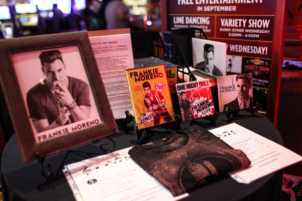 A table with merchandise from the Frankie Moreno Fan Club is set up before a concert at the Suncoast Showroom in Las Vegas, Saturday, Sept. 9, 2017. Joel Angel Juarez Las Vegas Review-Journal @jaj ...