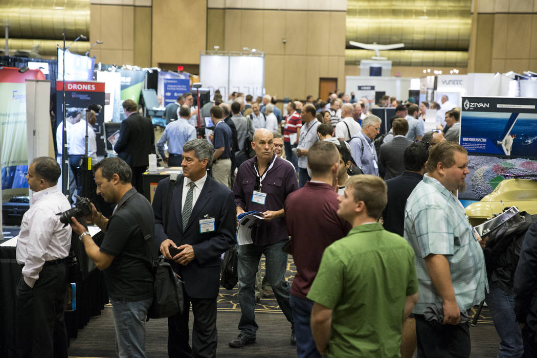 The InterDrone conference exhibition floor at the Rio Convention Center in Las Vegas, Wednesday, Sept. 6, 2017. Erik Verduzco/Las Vegas Review-Journal