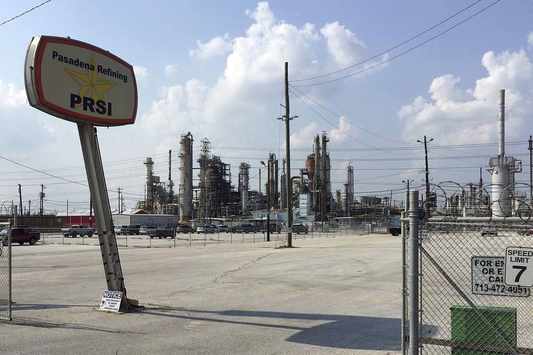 This Sept. 2, 2017, photo shows the Petrobras oil refinery plant in Pasadena, Texas. Plants owned by Shell, Chevron, Exxon-Mobil and other industry giants reported more than 1.5 million pounds (68 ...