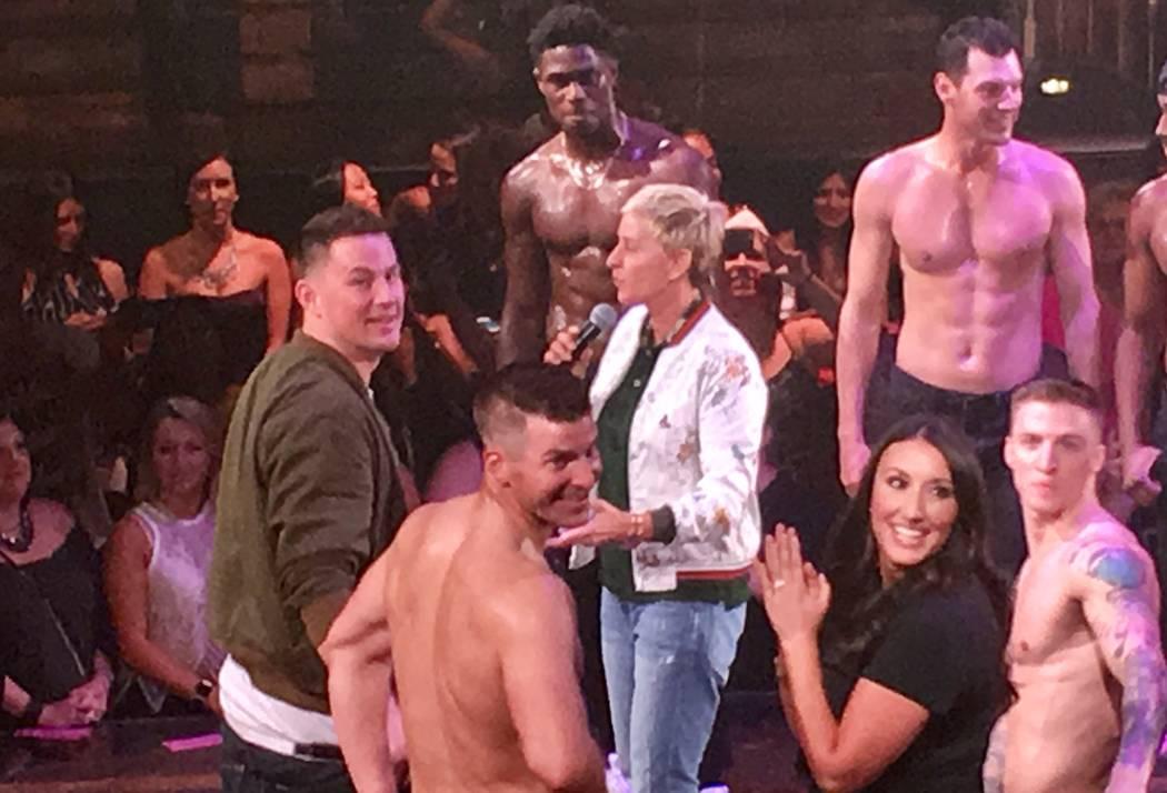 "Ellen DeGeneres and Channing Tatum and the cast of ""Magic Mike Live"" address a full house at Hard Rock Hotel on Thursday, Sept. 7, 2017. (John Katsilometes/Las Vegas Review-Journal). @JohnnyKats"