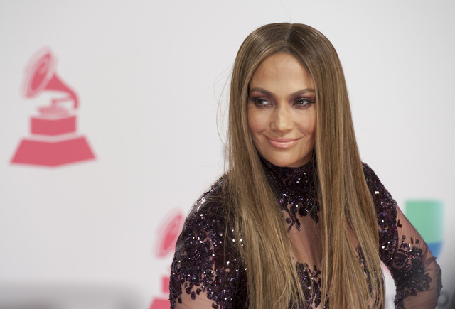 Jennifer Lopez arrives for her red carpet moment at the 17th annual Latin Grammy Awards at T-Mobile Arena on Nov. 17, 2016. (Mark Damon/Las Vegas News Bureau)