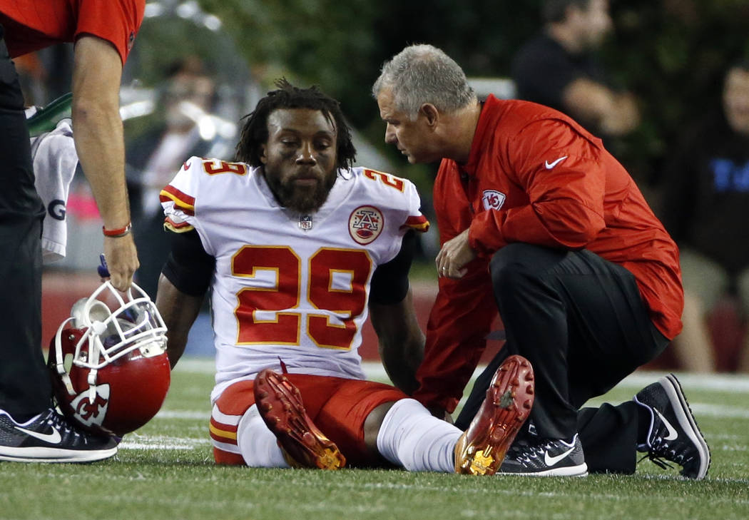 Kansas City Chiefs safety Eric Berry receives attention on the field after an injury during the second half of an NFL football game against the New England Patriots, Thursday, Sept. 7, 2017, in Fo ...