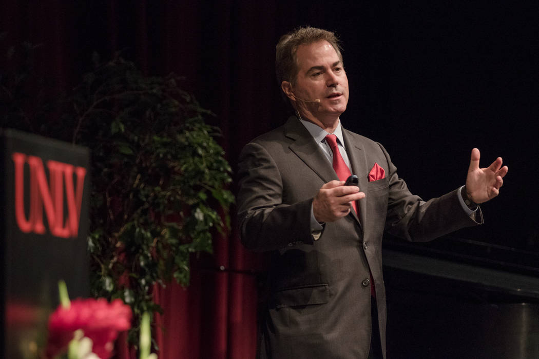 UNLV President Len Jessup gives his third annual update on the university during a special 60th anniversary address at UNLV Judy Bayley Theatre on Thursday, Sep. 14, 2017, in Las Vegas. Morgan Lie ...