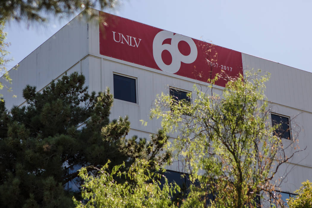 60th anniversary signs are displayed around campus at UNLV on Thursday, Sep. 14, 2017, in Las Vegas. Morgan Lieberman Las Vegas Review-Journal