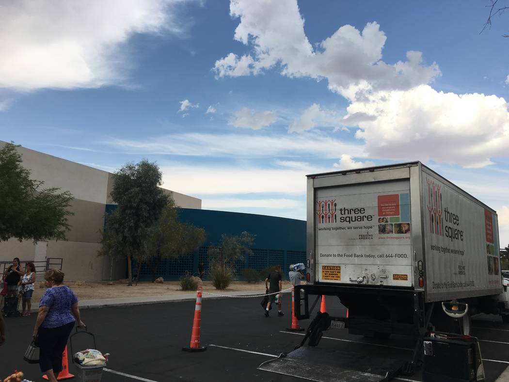 Three Square is a Feeding America affiliate that serves Southern Nevada locations. On Thursday, September 7, 2017, Three Square volunteers came to the Whitney Library. (Katelyn Umholtz/Las Vegas R ...
