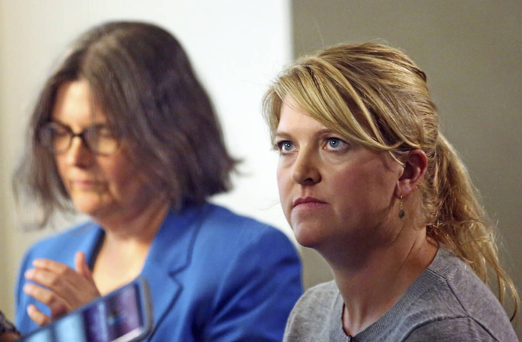 Nurse Alex Wubbels, right, looks on during an interview while her attorney Karra Porter looks on, Friday, Sept. 1, 2017, in Salt Lake City. Wubbels followed hospital policy and advice from her bos ...