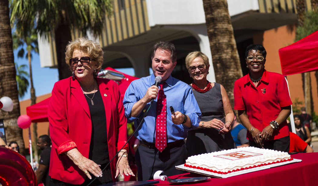 Las Vegas Mayor Carolyn Goodman, from left, UNLV President Len Jessup, Diane Chase, executive vice president and provost at the school, and Juanita Fain, vice president for student affairs, after  ...