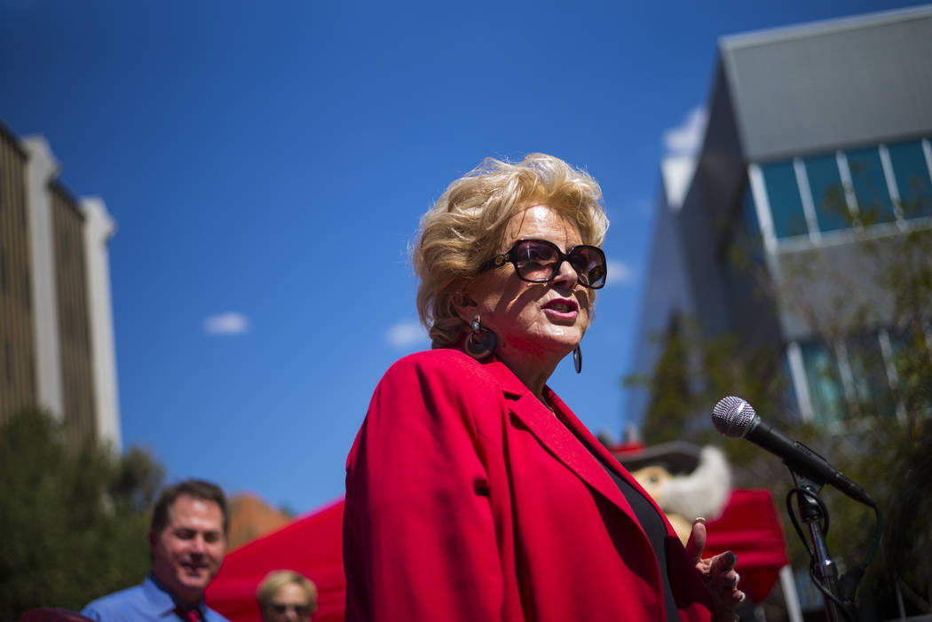 Las Vegas Mayor Carolyn Goodman speaks during an event marking UNLV's 60th birthday at Pida Plaza on the school's campus in Las Vegas on Tuesday, Sept. 12, 2017. Chase Stevens Las Vegas Review-Jou ...