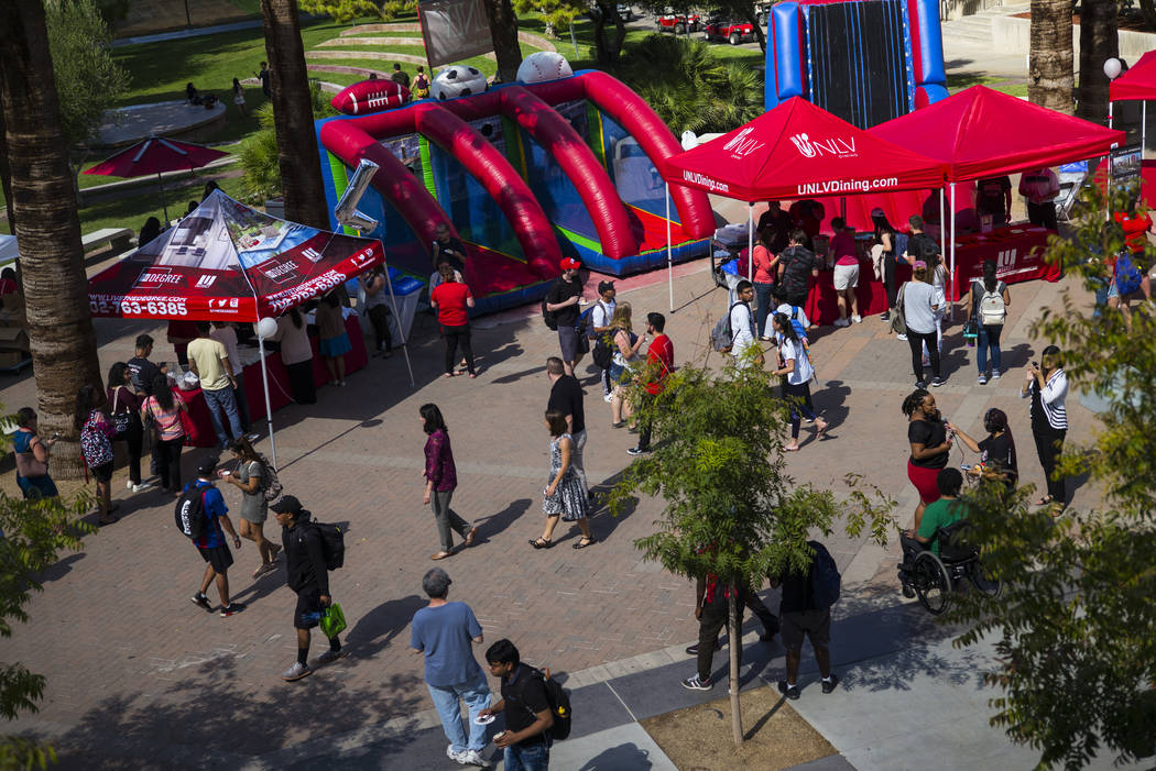 Aida Plaza during an event marking UNLV's 60th birthday on the school's campus in Las Vegas on Tuesday, Sept. 12, 2017. Chase Stevens Las Vegas Review-Journal @csstevensphoto