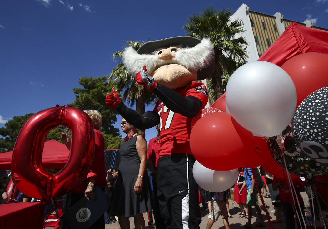 Hey Reb! during an event marking UNLV's 60th birthday at Pida Plaza on the school's campus in Las Vegas on Tuesday, Sept. 12, 2017. Chase Stevens Las Vegas Review-Journal @csstevensphoto