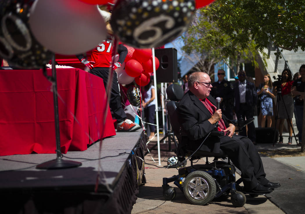 Regent Sam Lieberman speaks during an event marking UNLV's 60th birthday at Pida Plaza on the school's campus in Las Vegas on Tuesday, Sept. 12, 2017. Chase Stevens Las Vegas Review-Journal @csste ...