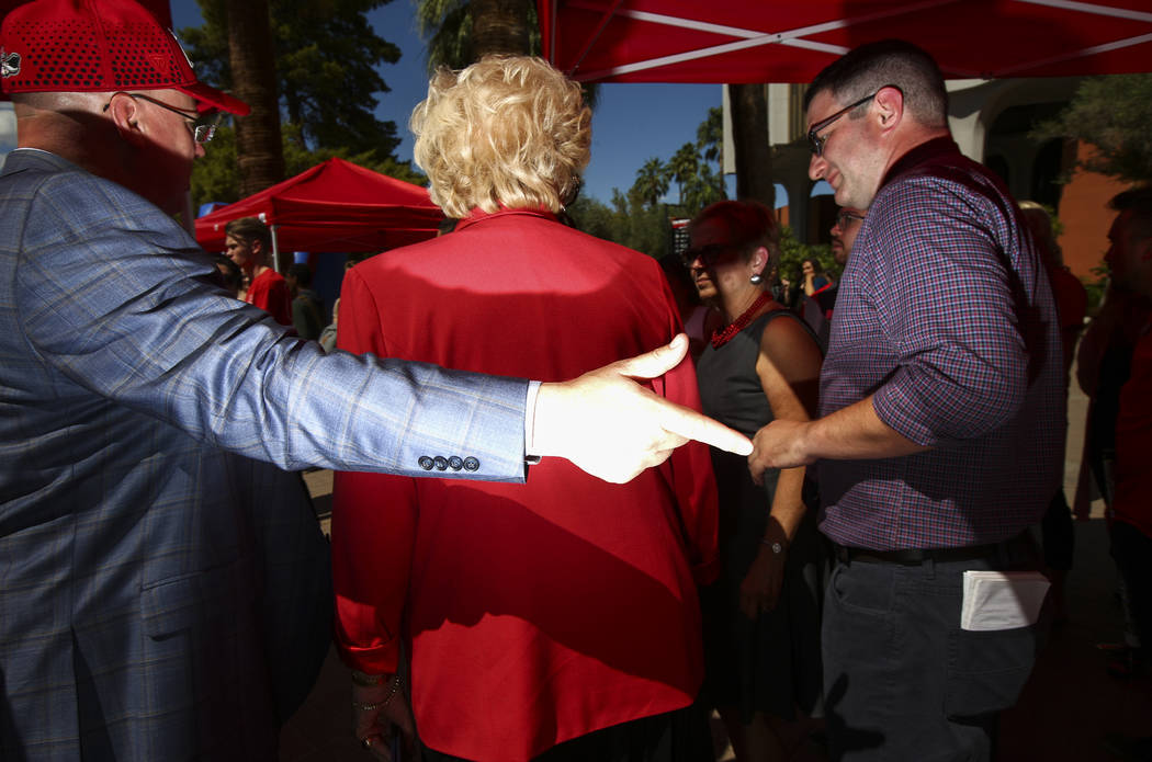 Las Vegas Mayor Carolyn Goodman, center, attends an event marking UNLV's 60th birthday at Pida Plaza on the school's campus in Las Vegas on Tuesday, Sept. 12, 2017. Chase Stevens Las Vegas Review- ...