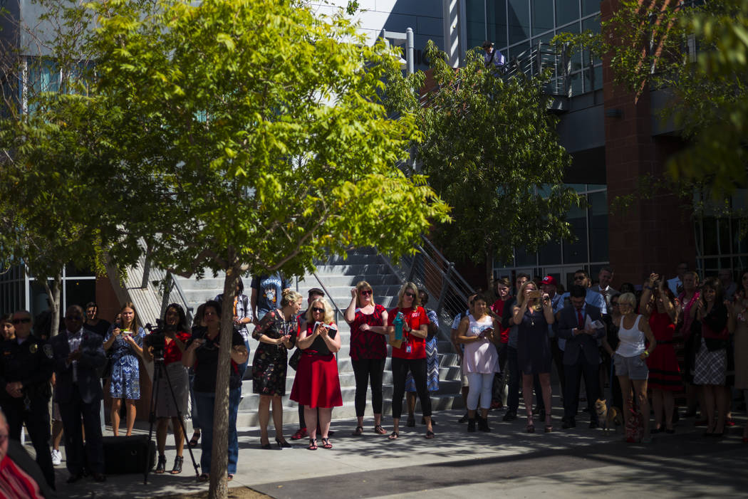 People attend an event marking UNLV's 60th birthday at Pida Plaza on the school's campus in Las Vegas on Tuesday, Sept. 12, 2017. Chase Stevens Las Vegas Review-Journal @csstevensphoto