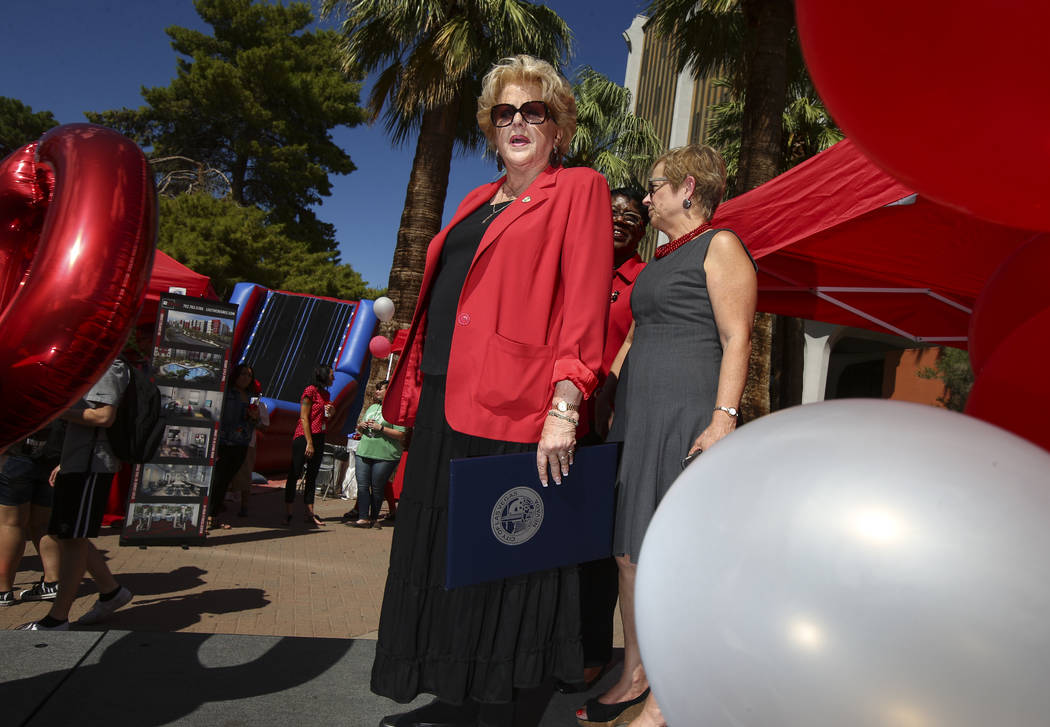 Las Vegas Mayor Carolyn Goodman attends an event marking UNLV's 60th birthday at Pida Plaza on the school's campus in Las Vegas on Tuesday, Sept. 12, 2017. Chase Stevens Las Vegas Review-Journal @ ...