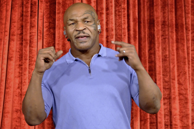 """Mike Tyson performs in his one-man show """"Undisputed Truth"""" at the Brad Garrett Comedy Club in the MGM hotel-casino at 3799 S. Las Vegas Blvd. on Sunday, Sept. 18, 2016. Bill Hughes/L ..."""