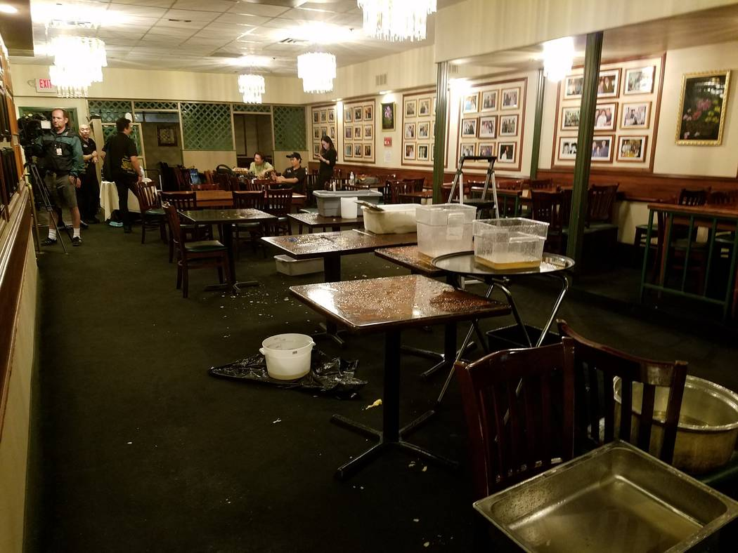 Thai restaurant Lotus of Siam after a portion of its ceiling collapsed in Las Vegas, Friday, Sept. 8, 2017. Mike Shoro Las Vegas Review-Journal